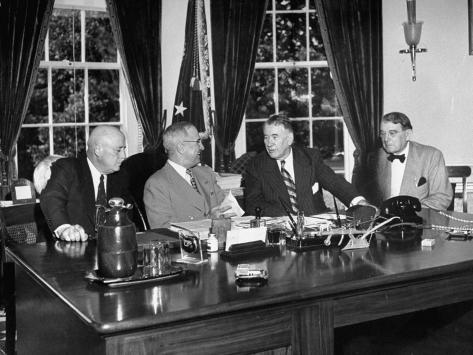 President Harry S. Truman Meeting with Congressmen in the Oval Office Stretched Canvas Print