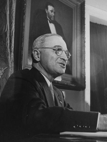 President Harry S. Truman Preparing to Address the Nation on Japan's Acceptance of Surrender Terms Stretched Canvas Print