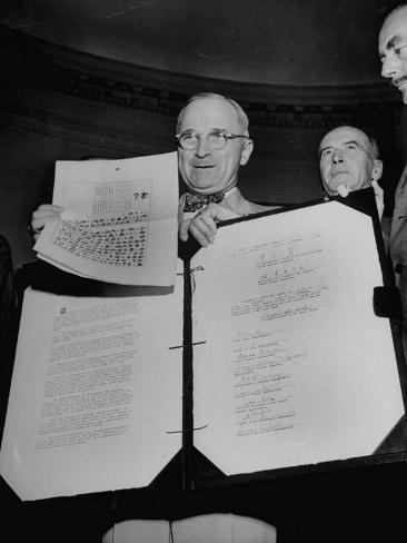 President Harry S. Truman Receiving the Surrender Documents from the Japanese Photographic Print
