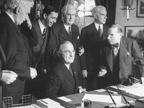 President Harry Truman with the Delegation to the San Francisco Conference Stretched Canvas Print