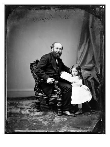 President James A. Garfield and Daughter, Ca 1880 Photo