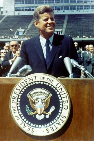 President Kennedy Speaking at Rice University, Sept. 9, 1962 Photo