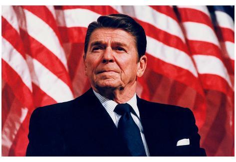 President Ronald Reagan (American Flag) Art Poster Print Poster