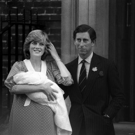 Prince Charles Princess Diana Prince William Outside Hospital After Birth, June 1982 Photographic Print