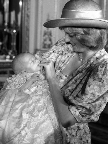 Princess Diana with her son William, August 4th 1982 - Christening of Prince William Photographic Print