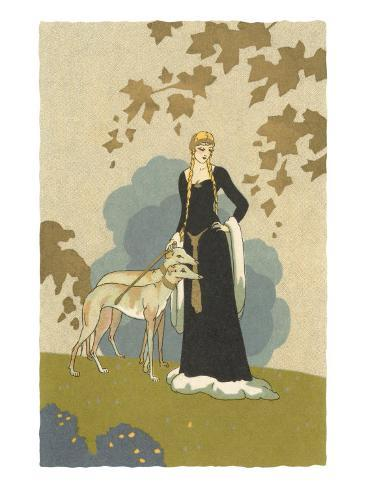 Princess with Whippets Art Print