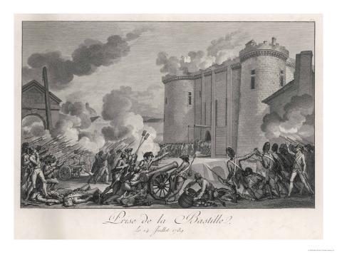 Prise de la Bastille the Paris Mob Attacks the Bastille Prison Lámina giclée