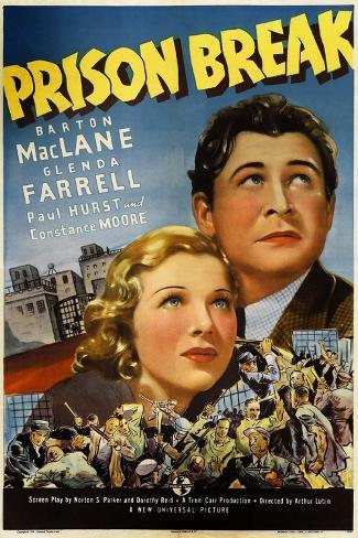 PRISON BREAK, US poster art, from left: Glenda Farrell, Barton MacLane, 1938 Art Print