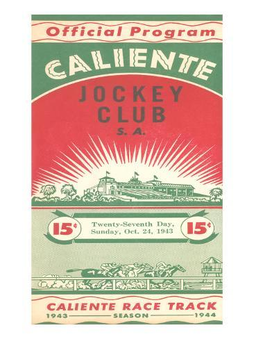 Program from Caliente Racetrack Art Print