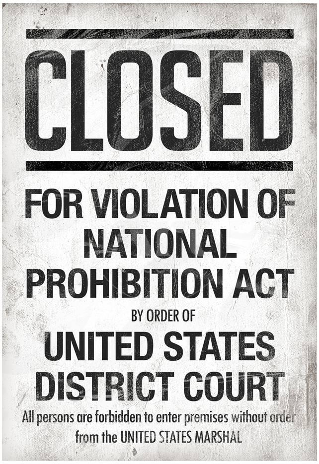 Prohibition Act Closed Notice Photo at AllPosters.com