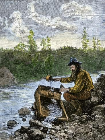 Prospector Washing Pebbles from a Stream Using a Cradle Device to Sparate Gold Nuggets Giclee Print