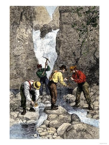 Prospectors Finding Gold in a Georgia Stream, c.1800 Giclee Print