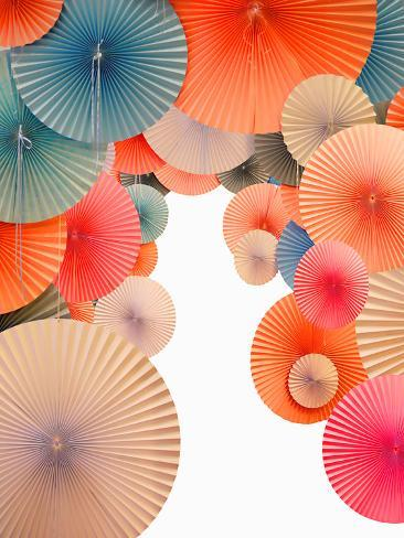 Traditional Asian Paper Umbrellas with White Space Photographic Print