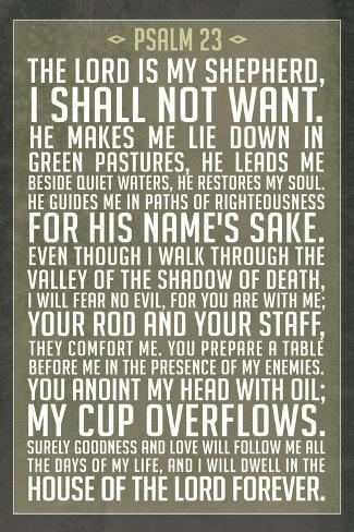 Psalm 23 Prayer Art Print