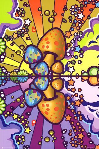 Psychedelic Mushroom Art Poster Print Poster
