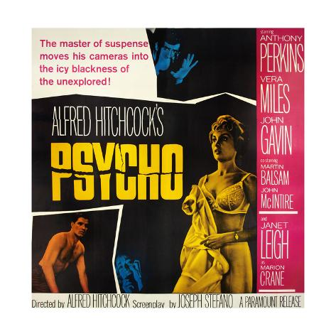 Psycho, Top: Anthony Perkins, Bottom from Left: John Gavin, Vera Miles, Janet Leigh, 1960 Gicléetryck