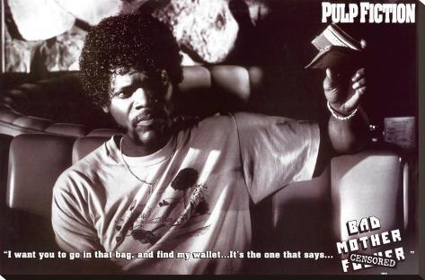 Pulp Fiction - Bad Mother B & W Movie Poster Impressão em tela esticada