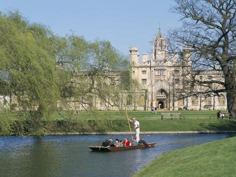Punting on the Backs, with St. John's College, Cambridge, Cambridgeshire, England Photographic Print