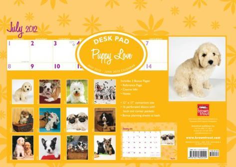Puppy Love - 2013 Academic Desk Pad Calendars