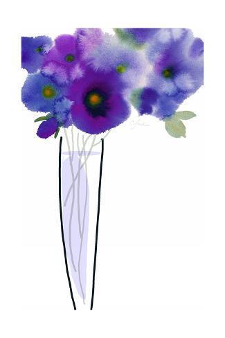 Purple Flowers with Bud in Vase Art Print
