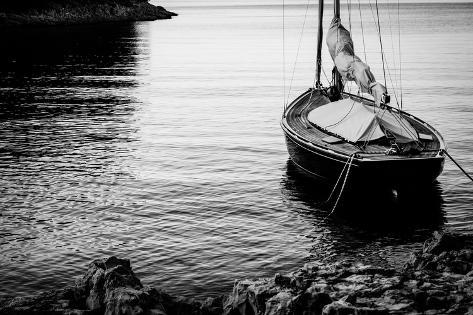 Sailing Boat Moored at Land Photographic Print