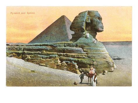 Pyramid and Sphinx, Egypt Art Print