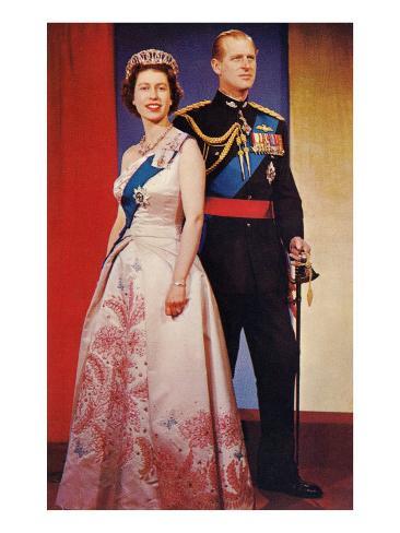 Queen Elizabeth and Prince Phillip Art Print