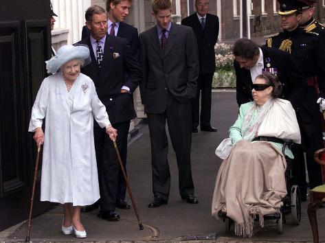 Queen Mother waves on her 101 birthday watched by Princess Margaret in wheelchair and Prince Charle Photographic Print