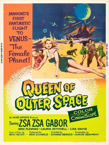 QUEEN OF OUTER SPACE, foreground: Zsa Zsa Gabor on poster art, 1958 Art Print