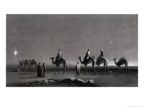 Jesus' Birth Magi Follow Star Across the Desert Lámina giclée