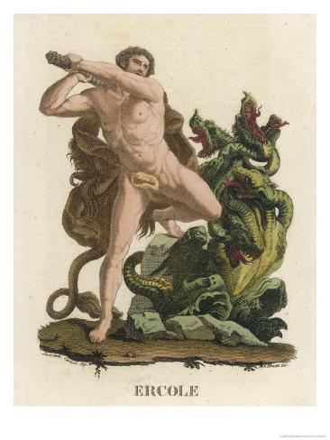 Hydra Suffering at the Hands of Herakles Giclee Print