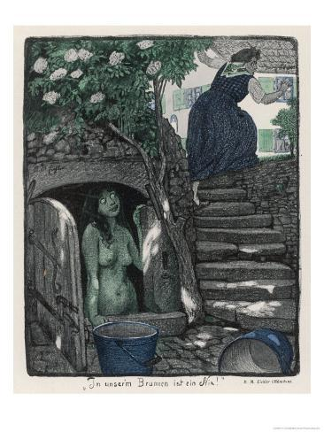Nixie in the Well Frightens an Old Woman Who Came Thereto Fetch Water Giclee Print