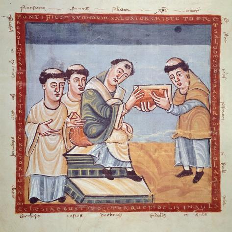 Rabano Mauro Giving Gregory Iv the De Laudibus, Miniature from a Manuscript, 9th Century Giclee Print