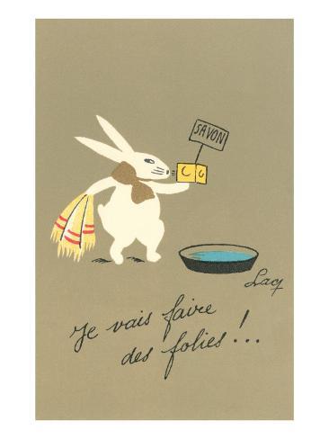 Rabbit Preparing to Bathe Art Print