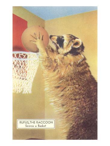 Raccoon Playing Basketball Art Print
