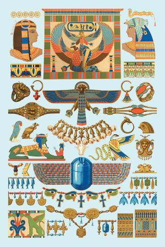Egyptian Jewelry Decalcomania da muro