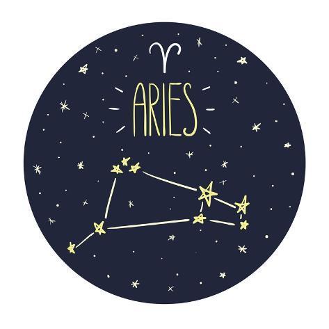 Zodiac Signs Doodle Set - Aries Art Print