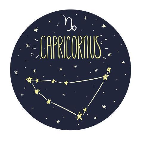 Zodiac Signs Doodle Set - Capricorn Art Print