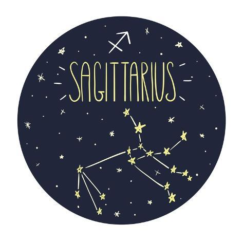 Zodiac Signs Doodle Set - Sagittarius Art Print