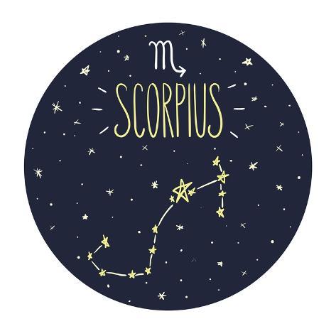 Zodiac Signs Doodle Set - Scorpius Art Print