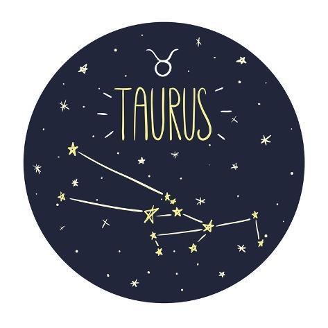 Zodiac Signs Doodle Set - Taurus Art Print
