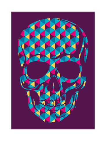 Conceptual Human Skull. Vector Illustration. Art Print