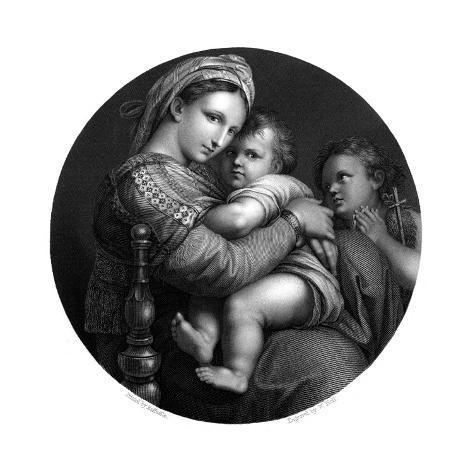 Mary, Jesus, John Lámina giclée