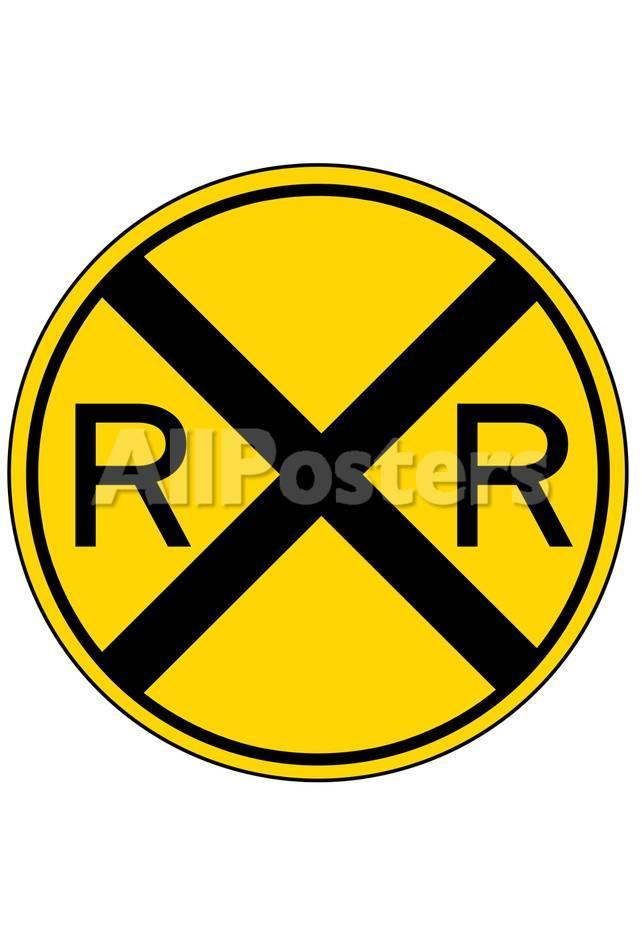 オールポスターズの railroad crossing sign print poster アートポスター