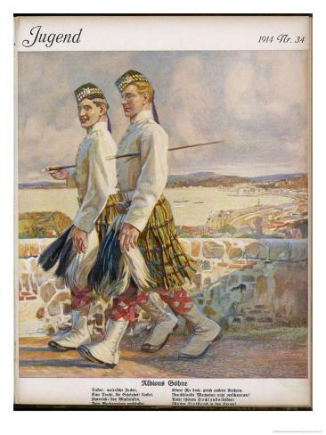 Two Scottish Soldiers in Walking-Out Dress at Oban Giclee Print