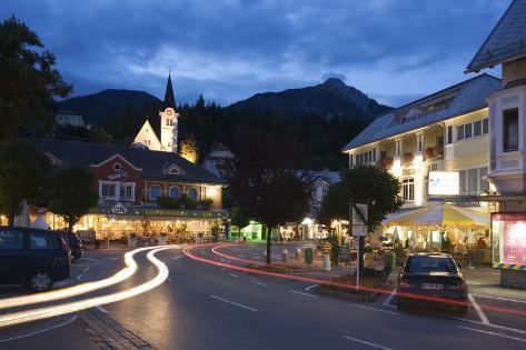 Austria, Carinthia, Hermagor, Streets Scenery, Light-Tracks, Twilight Photographic Print