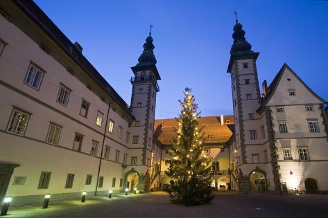 Austria, Carinthia, 'Landhaus Klagenfurt', Outside-Facade, Christmas-Tree, Twilight Photographic Print