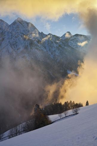 Austria, Tyrol, East Tyrol, Pustertal, Bannberg (Mountain), Snow, Fog, Evening Light Photographic Print