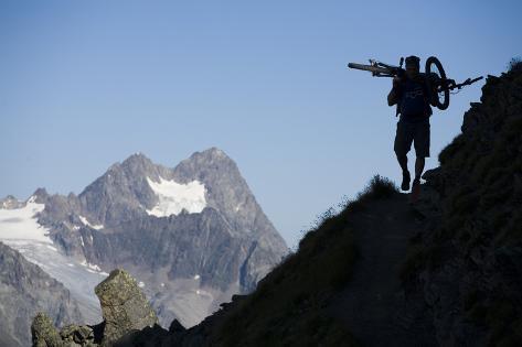 Austria, Tyrol, …tztaler Alpen, Wildspitze, Summit, Man, Mountainbike, Carries Photographic Print