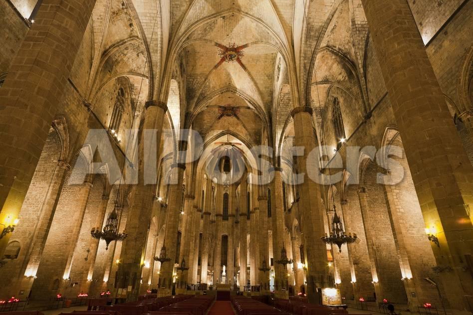 Spain Catalonia Barcelona Church Santa Maria Del Mar Inside Photographic Print Rainer Mirau Allposters Com